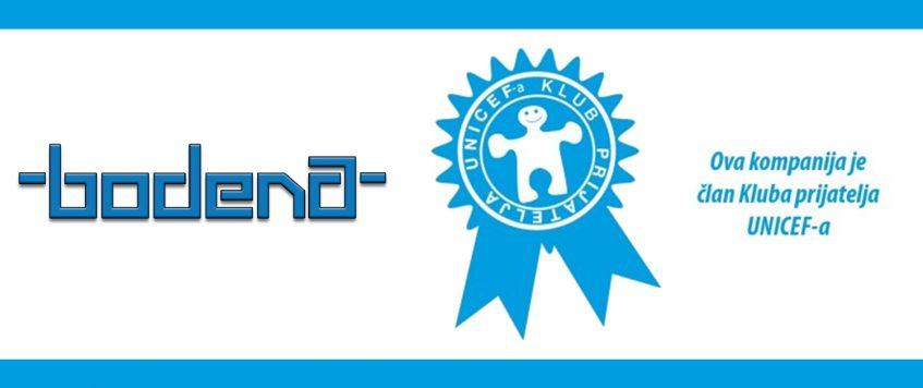 BODENA D.O.O. POSTALA ČLAN KLUBA PRIJATELJA UNICEF-A